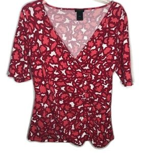 Ann Taylor Womans Top Size Large.  Pink print top
